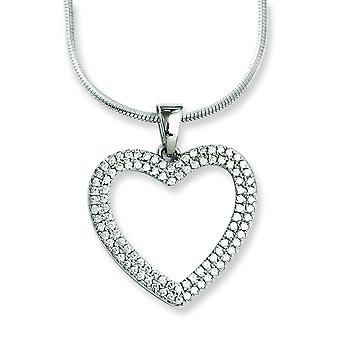 Sterling Silver and Cubic Zirconia Brilliant Embers Heart Necklace - 18 Inch