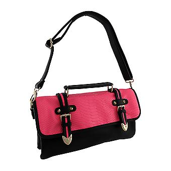 Black Satchel Handbag with Buckles and Fluorescent Snakeskin Flap