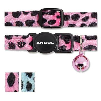 Safety Buckle Cat Collar Velvet Leopard Print Pink (Pack of 3)