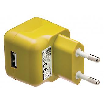 ValueLine AC charger with USB connector, USB A female-AC-contact for home, yellow