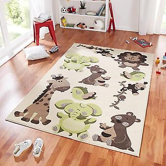 Design suede play mat for kids animals zoo Brown green 140 x 200 cm