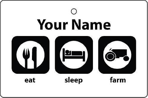 Personalised Eat Sleep Farm Car Air Freshener