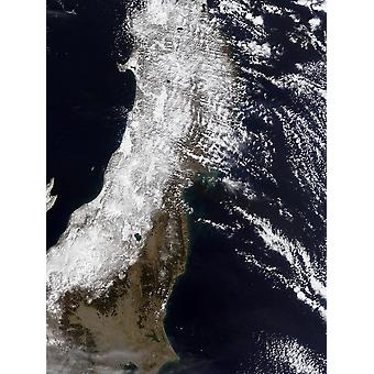 March 12 2011 - Satellite view of northeast Japan Poster Print