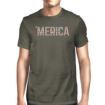 ' رمادية رجالي ميركا الظلام المحملة القميص ل 4 يوليو الفريدة التي شيرت هدية
