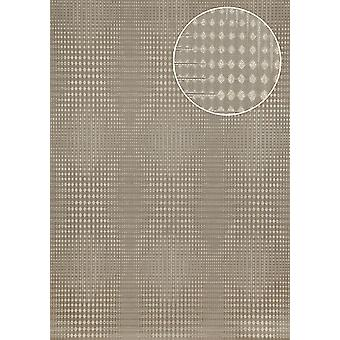 Graphic wallpaper Atlas ICO-5074-6 non-woven wallpaper smooth with geometric shapes and metal accents grey brown grey bronze 7,035 m2