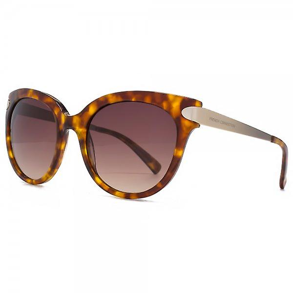 French Connection Premium Round Cateye Sunglasses In Tortoiseshell