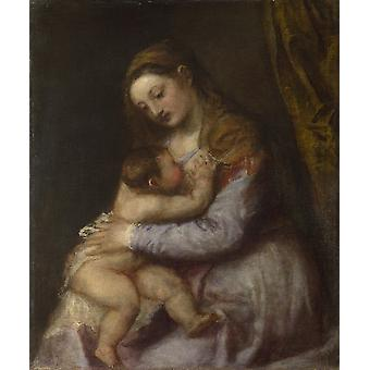 Titian - The Virgin suckling the Infant Christ Poster Print Giclee