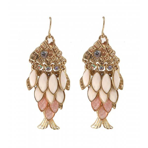 W.A.T Gold Style Crystal Pastel Fish Earrings