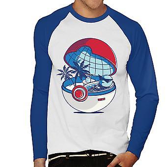 Blue Pokehouse Squirtle Pokemon Men's Baseball Long Sleeved T-Shirt