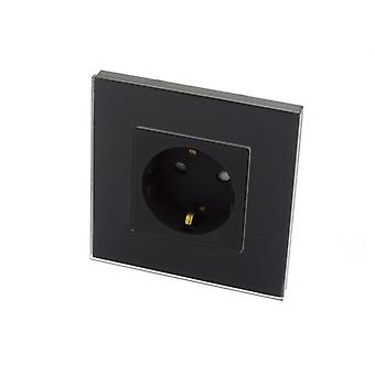 I LumoS Black Glass Schuko 16A EU German Wall Plug Double Socket