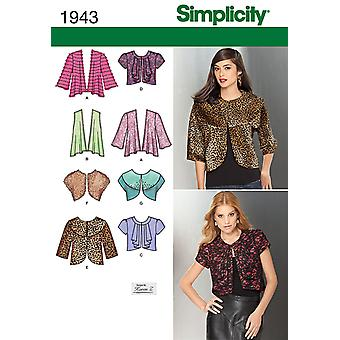 Simplicity Misses' knit and woven jackets sewing pattern-6-8-10-12-14 US1943H5