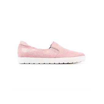 Women's Snake Effect Leather Slip-on Trainers - Rose Reptile