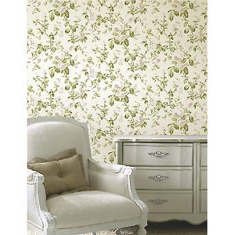 Floral Trail Heritage Wallpaper Flower Luxury Heavyweight Rose Leaves Fine Decor