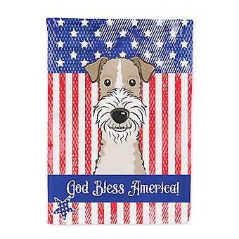 God Bless American Flag with Wire Haired Fox Terrier Flag Canvas House Size