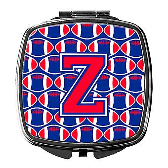 Letter Z Football Harvard Crimson and Yale Blue Compact Mirror