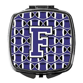 Letter F Football Purple and White Compact Mirror