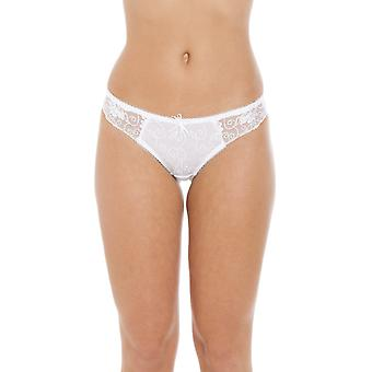 Camille Womens Ladies Florence Sheer Mesh Embroidered Lace Thong In White Size 10-18