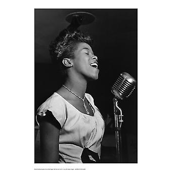 Sarah Vaughan at Microphone Poster Print by William Gottlieb (14 x 20)