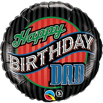 Qualatex 18 Inch Round Happy Birthday Dad Striped Foil Balloon