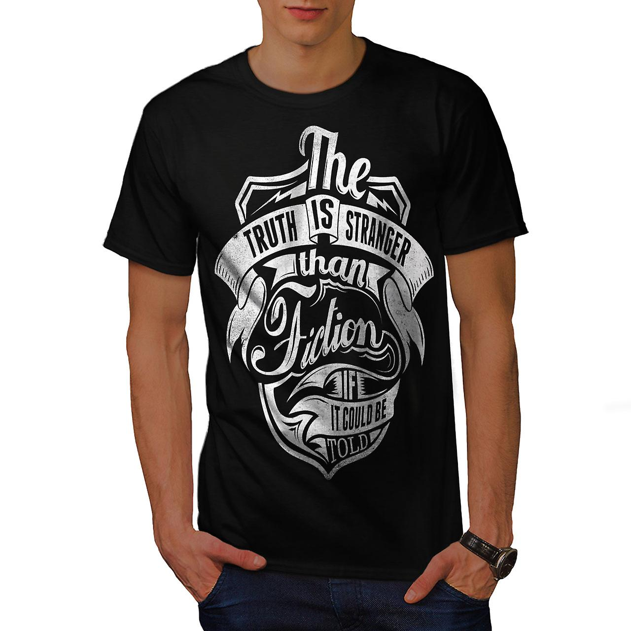 Truth Is Stranger Slogan Men Black T-shirt | Wellcoda