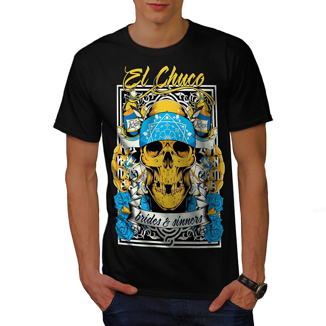 Bride Sin Skull Gangster Men Black T-shirt | Wellcoda