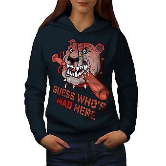 Mad Agressive Angry Dog Women NavyHoodie | Wellcoda