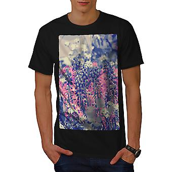 Blume Feld Männer BlackT-t-Shirt   Wellcoda