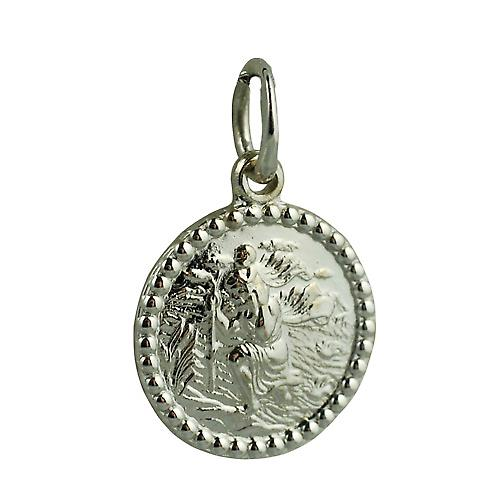 9ct White Gold 13mm round St Christopher Pendant