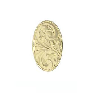 9ct Gold 12x8mm hand engraved oval Tie Tack