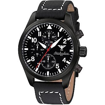 KHS Herrenuhr Airleader black steel chronograph KHS. AIRBSC. LBB