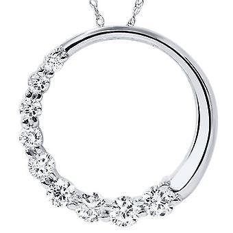 14K White Gold 1 / 2ct Circle Reise Diamant Anhänger