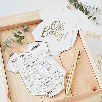 Gold Foiled Advice for the Parents Cards OH BABY! Baby Shower x 10