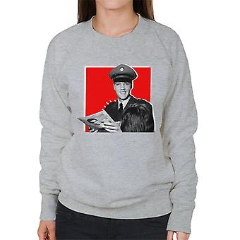 Elvis Presley Signing Autographs Army Uniform Pop Art Women's Sweatshirt