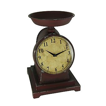 Rustic Red Decorative Vintage Weight Scale Table Clock