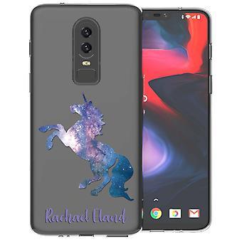 OnePlus 6 blå Unicorn personlig TPU Gel Case