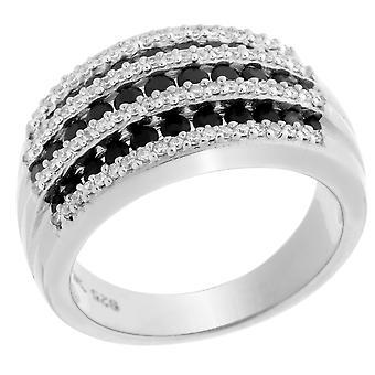 Orphelia Silber 925 Ring schwarz & weißer Zirkon ZR-6084