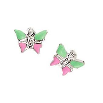 Pendientes de los niños scout aretes de mariposa de plata verde / niñas de color rosa 262128100