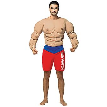 Bay Watch Lifeguard Muscle Beach Occupations Dress Up Mens Costume OS
