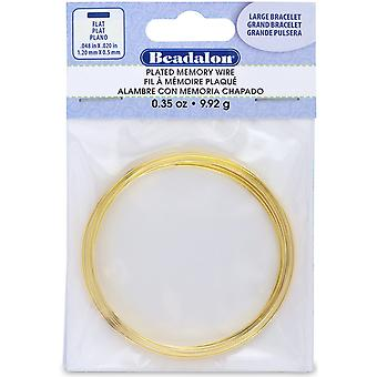 Flat Memory Wire Large Bracelet .5mmX1.2mm .35oz-Gold-Plated - 12 Coils