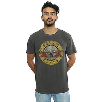 Guns N Roses Men's Vintage Bullet Logo Washed T-Shirt