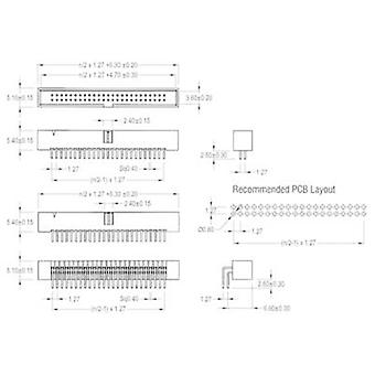 W & P Products Pin strip Contact spacing: 1.27 mm Total number of pins: 34 No. of rows: 2 1 pc(s)