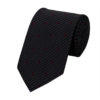 Schlips Krawatte Krawatten Binder 8cm schwarz gestreift rot Muster Fabio Farini