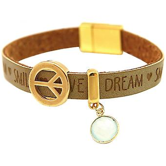Women - bracelet - harmony - peace - WISHES - chalcedony - Brown sand - magnetic closure