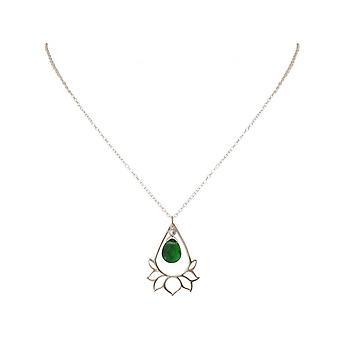Damen - Halskette - Anhänger - 925 Silber - Lotus Blume - Mandala - Turmalin Quarz - Tropfen - Grün - YOGA - 4 cm