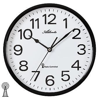 Атланта 4378/7 настенные часы радио радио контролируемые настенные часы аналоговые черный белый раунд