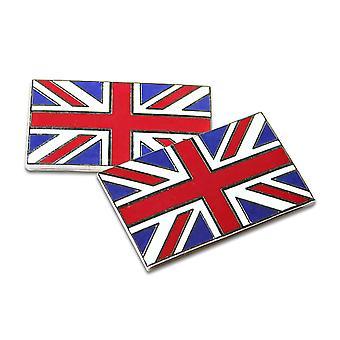Union Jack Flag Metal emalje klassiske bil Self selvklæbende Badges - sæt med 2