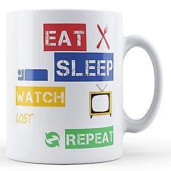 Jeść, spać, zegarek zgubiony, powtórz kubek z nadrukiem