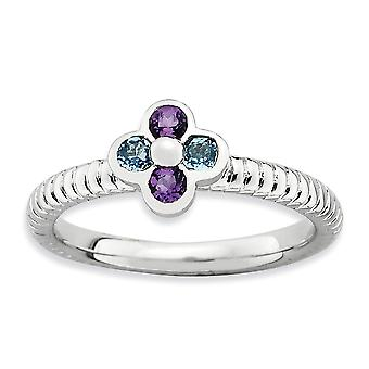 2,25 mm Sterling Silber Lünette poliert rhodiniert stapelbar Ausdrücke blauer Topas und Amethyst Blume Ring - Ring Si