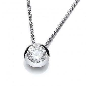 Cavendish französische Silber offen gesicherte CZ Solitär Halskette