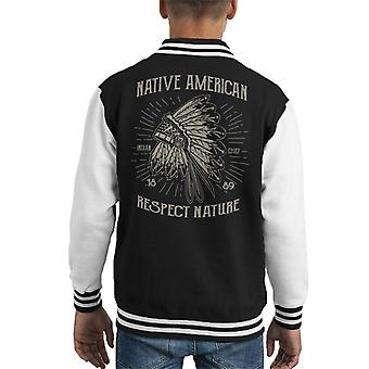 Vintage Native American Respect Nature 1889 Kid's Varsity Jacket